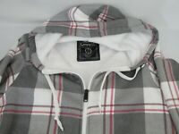 Empyre Mens Zip Hoodie Small Plaid White Red Maroon Bk White Sherpa Liner Jacket
