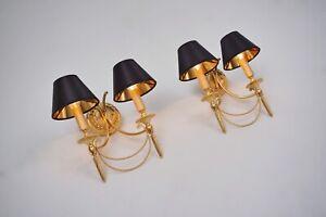 Sciolari wall lights gilt brass Neoclassical, a pair, 1960`s ca, Italian