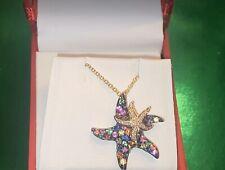 NEW!EFFY DIAMOND ,MULTI SAPPHIRE 14K GOLD STARFISH NECKLACE  $2,405