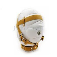 PU Leather Total Sensory Deprivation Hood Mask Bondage Kit Unisex Roleplay Slave