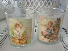 SALE , CLAYRE & EEF,  2 er Set Teelichtglas,Teelichthalter,Ostern,Glas,Vintage