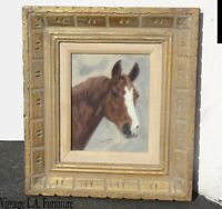 Vintage French Pastel Wall Picture Print of a Horse signed by Char Henson 1971