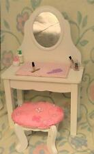 Wooden Vanity with Mirror and Padded Stool for 18 inch Dolls