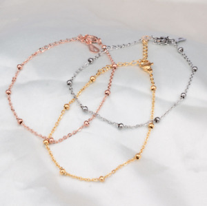 "10"" Stainless Steel 18K Rose Gold Silver Beads Foot Ankle Chain Anklet Gift PE10"