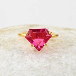 Gorgeous Diamond Shape Pink Tourmaline Quartz Silver Yellow Gold Love Gift Ring