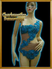 BLUE BURLESQUE SEQUIN LATIN LEOTARD NUDE DANCE Dress