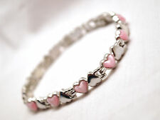 LOVELY LADIES 7.5 IN. SILVER & PINK HEARTS MAGNETIC LINK BRACELET: Helps Pain!