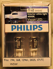 Genuine Philips 4000K T10 194 168 12961 2825 17177 W5W Vision Interior LED Bulbs