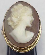 ANTIQUE 18K YELLOW GOLD CAMEO RING DIAMOND NECKLACE LADIES WOMENS ESTATE FINE
