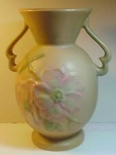 """Weller marked """"Wild Rose"""" Pink 2-Handled Art Pottery Vase 9 3/4"""" Tall GREAT"""