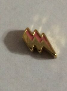 Authentic Origami Owl Floating Charm Gold and Pink Lightning Bolt