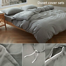 100% Washed Cotton 3Pcs Comfort Ultra Soft Duvet Cover Set for Comforter Bedding