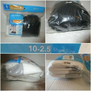 Gildan Boys No Show Socks 10-2.5 Shoe Size 6 Pair (3 White & 3 Black) Soft Comfo