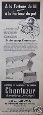 PUBLICITÉ 1955 LIT DE CAMP CHANTAZUR CRÉÉ PAR LAFUMA - ADVERTISING