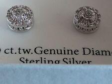 NEW Women's Genuine Diamond Stud Earrings Round Cluster Sterling Silver 1/10 CT
