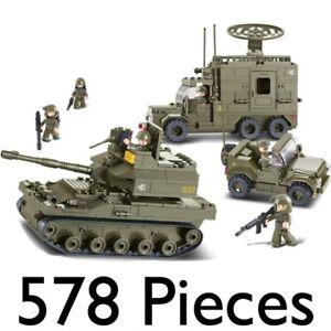 SLUBAN ARMY ELITE ARMOURED DIVISION 578pc CONSTRUCTION BUILDING BRICKS TANK 0308