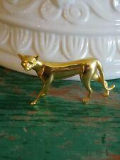 Franklin Mint Art Deco Curio Cabinet Cat Figurine 1986 Gold Tone Metal