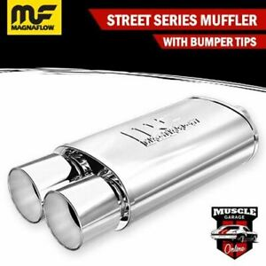 """14805 - 2.25"""" In/ Twin 3.5"""" Out 5""""x8""""x14"""" Long - Stainless Magnaflow Muffler"""