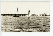 Sailboat in Harbor Rppc Cape Porpoise—Kennebunkport Photo 1940s
