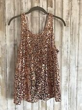 Free People Intimately Rose Gold Sheer Sequin Tunic Top Small S Cute Back RARE!