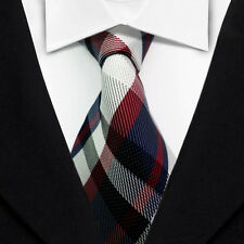 Striped Men's Ties Classic Jacquard Woven Silk Tie Suits Necktie Red Blue L029