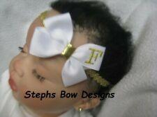 White w/ Gold Monogram Dainty Hair Bow Headband Personalized Preemie to Toddler