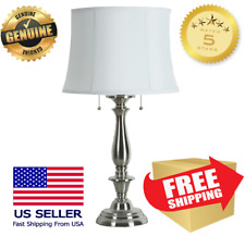 """Allen + Roth Woodbine 28"""" Brushed Nickel Electrical Outlet Table Lamp New!"""