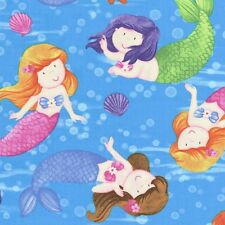 Little Mermaids & Starfish Characters Pink, Purple & Green on Blue Fabric - FQ