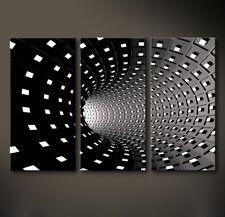 TEMPS Abstrakt Leinwand Bild Schwarz Weiß Grau Wandbild XL Kunstdruck No Poster