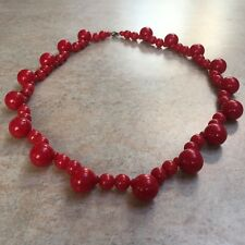 Vintage Retro 1980s Red Plastic Bead Necklace Party Prom 24in