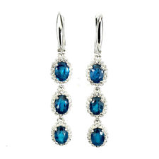 NATURAL PRETTY RICH OCEAN BLUE APATITE & WHITE CZ EARRINGS 925 STERLING SILVER