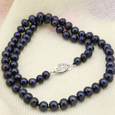 "natural freshwater pearl necklace 18"" New 7-8mm Black pearl necklace jewelry"