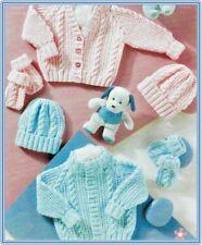 BC027 KNITTING PATTERN BABY PREEMIE CARDIGAN HAT MITTENS SIZE 12 - 22 INS DK