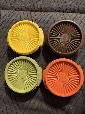 Vtg. Tupperware Set of 8 Servalier Bowls #1323 w/ lids Harvest Colors Never Used