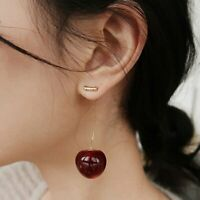 Sweet Red Cherry Fruit Simulation Resin Earrings Stud Drop Dangle Women Fashion