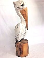 20� White Pelican On Piling Hand Carved Wood Tropical Sculpture Bird Decor
