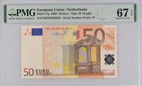 Euro 50 Euro Netherlands 2002 P 17 P Superb GEM UNC PMG 67 EPQ High