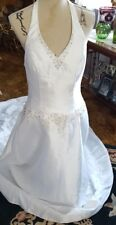 NEW ♡ #13  WHITE WEDDING GOWN DRESS ♡ BEAUTIFUL ♡ HALTER STYLE ♡ SIZE 14
