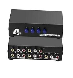 4-Port RCA Composite Video Audio AV Switch Selector Switcher Splitter Box