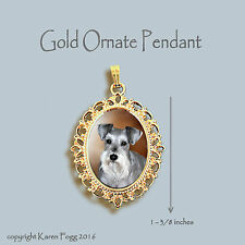 Schnauzer Dog Silver Natural Ears - Ornate Gold Pendant Necklace