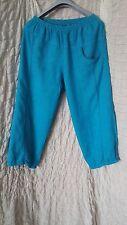Uno Danmark turquoise blue 100% linen baggy wide leg trousers size 2
