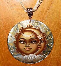 véritable russe peint à la main pendentif coquillage en or soleil & lune Unique
