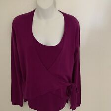 Anne Klein Wrap Sweater Layered Ribbed Tank Mulberry NWT Size Medium