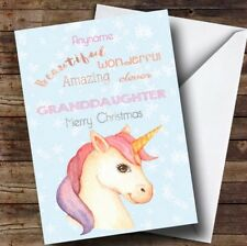 Granddaughter Pretty Unicorn Personalised Christmas Card