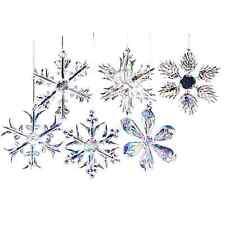 New Christmas Ornaments Glass Snowflakes Clear Vintage Decor Xmas Tree 12 Piece