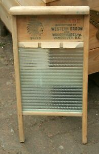 Antique Chief Brand Cascade Western broom Woodenware Vancouver, BC washboard