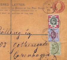 CB8 1906 GB KEVII DLR CHALKY ISSUES Superb 9d & 1s Combination Registered Cover