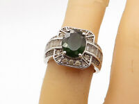 925 Sterling Silver - Vintage Peridot & Topaz Square Cocktail Ring Sz 6 - R16740