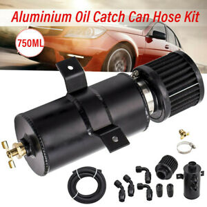0.75L Capacity AN10 Car Motor Oil Catch Can 3M Hose Fittings Alloy Baffled Black
