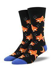 Socksmith Mens Gent Boys Goldfish Fish Novelty 7-12 Black Socks Gift LilyRosa